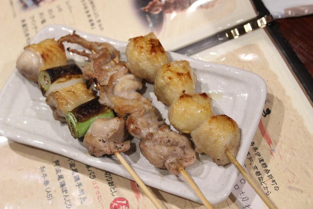 chicken and leek- chicken rump- pork head yakitori