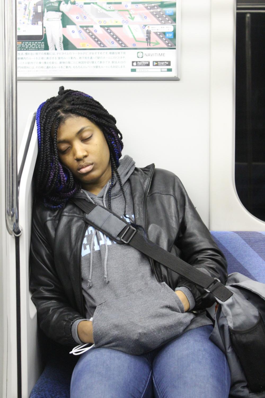 sleeping on train in tokyo
