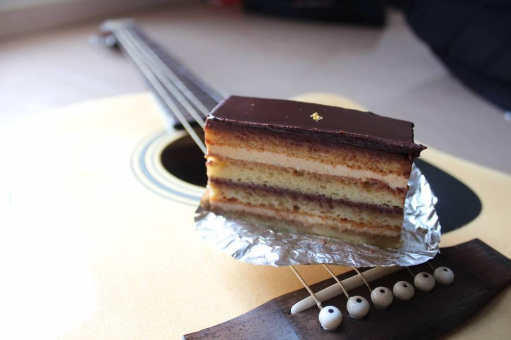 Opera torte on guitar