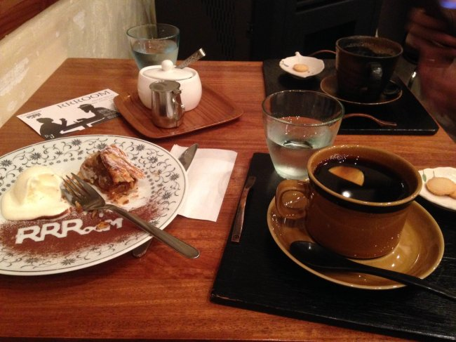 cafe rrroom coffee and dessert spread